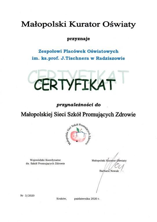 Certyfikat przynależności do Małopolskiej Sieci Szkół Promujących Zdrowie